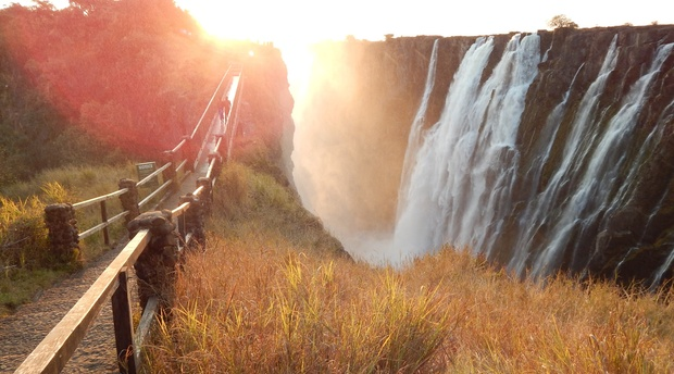 Sunset at the Victoria Falls, Zambia